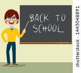 happy teacher character...   Shutterstock . vector #1445048891
