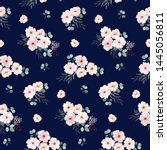 seamless pattern with anemone... | Shutterstock .eps vector #1445056811