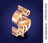 dollar sign isometric in dark... | Shutterstock .eps vector #1445101424