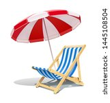 beach chaise longue and... | Shutterstock .eps vector #1445108504