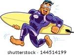 happy running barefoot surfer... | Shutterstock .eps vector #144514199