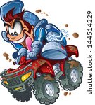 wild smiling atv quad rider... | Shutterstock .eps vector #144514229