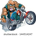Wild Crazy Bald Smiling Biker...