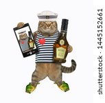 Stock photo the cat sailor in a beach sandals in the form of fish with a bottle of rum and a smartphone has 1445152661