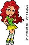 shy pretty irish redhead teen... | Shutterstock .eps vector #144516521