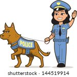 Police Dog And Asian Female...