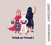 children dressed in halloween... | Shutterstock .eps vector #1445215907