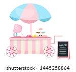 street food cart flat vector... | Shutterstock .eps vector #1445258864