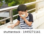 a 5 years old boy wearing a... | Shutterstock . vector #1445271161