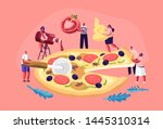 tiny people eating huge pizza.... | Shutterstock .eps vector #1445310314