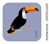 cute toucan flat vector... | Shutterstock .eps vector #1445311634