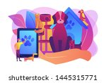 Stock vector pet hotel daycare bringing puppy to grooming veterinary service pet services pets care 1445315771