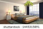 Stock photo bedroom interior bed d illustration 1445315891
