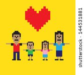 pixel art happy family | Shutterstock .eps vector #144531881