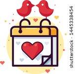 love calendar with birds vector ... | Shutterstock .eps vector #1445338454