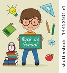 back to school card. child with ...   Shutterstock .eps vector #1445350154