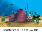 coral reef with hermic crab.... | Shutterstock .eps vector #1445367101