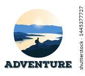 tourists climbing on a rock ...   Shutterstock .eps vector #1445377727