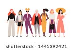 group of adorable women dressed ... | Shutterstock .eps vector #1445392421