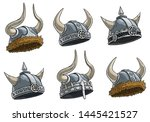 cartoon metal viking warrior... | Shutterstock .eps vector #1445421527