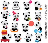 happy panda clip art | Shutterstock .eps vector #144542429