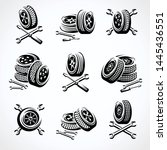 car wheels collection set.... | Shutterstock .eps vector #1445436551