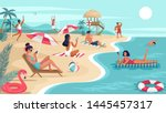Summer Beach People Fun Restin...