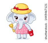 baby elephant in a hat is... | Shutterstock .eps vector #1445467121