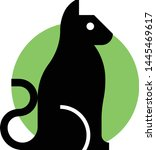 cat black silhouette vector icon | Shutterstock .eps vector #1445469617