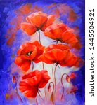 Red Poppies On Purple...