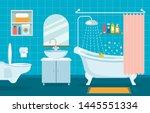 modern interior of bathroom and ... | Shutterstock .eps vector #1445551334