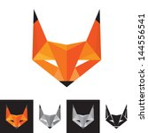 Fox Logo - Geometric Sign - Vector Logo Sign Template. Fox animal logo. Design element.  - stock vector