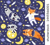 seamless pattern with cute fox...   Shutterstock .eps vector #1445566001