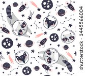 seamless pattern with cute fox...   Shutterstock .eps vector #1445566004