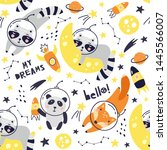 seamless pattern with cute fox...   Shutterstock .eps vector #1445566007