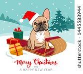 cute french bulldog puppy... | Shutterstock .eps vector #1445583944