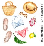 Stock photo watercolor marine illustration with summer essentials hand painted beach set on white background 1445600654