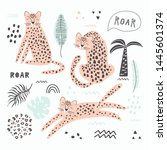 set with leopard and small...   Shutterstock .eps vector #1445601374