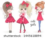 three hand drawn beautiful cute ... | Shutterstock .eps vector #1445618894