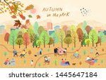 people in the autumn park.... | Shutterstock .eps vector #1445647184