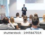 male speaker giving a talk in...   Shutterstock . vector #1445667014