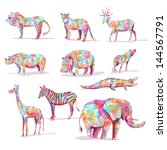 set of wild animal vector... | Shutterstock .eps vector #144567791