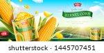premium kernel corn can banner... | Shutterstock .eps vector #1445707451
