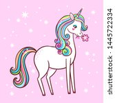 cute unicorn stands on a pink... | Shutterstock .eps vector #1445722334