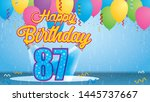 happy birthday 87 greeting card.... | Shutterstock .eps vector #1445737667