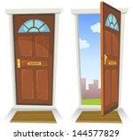 Cartoon Red Door  Open And...