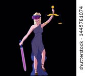justice femida with scales ... | Shutterstock . vector #1445781074