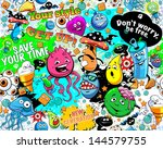 graffiti seamless texture with... | Shutterstock .eps vector #144579755