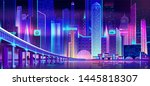 night city with neon lights and ... | Shutterstock .eps vector #1445818307