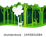 green forest and deer wildlife... | Shutterstock .eps vector #1445831084